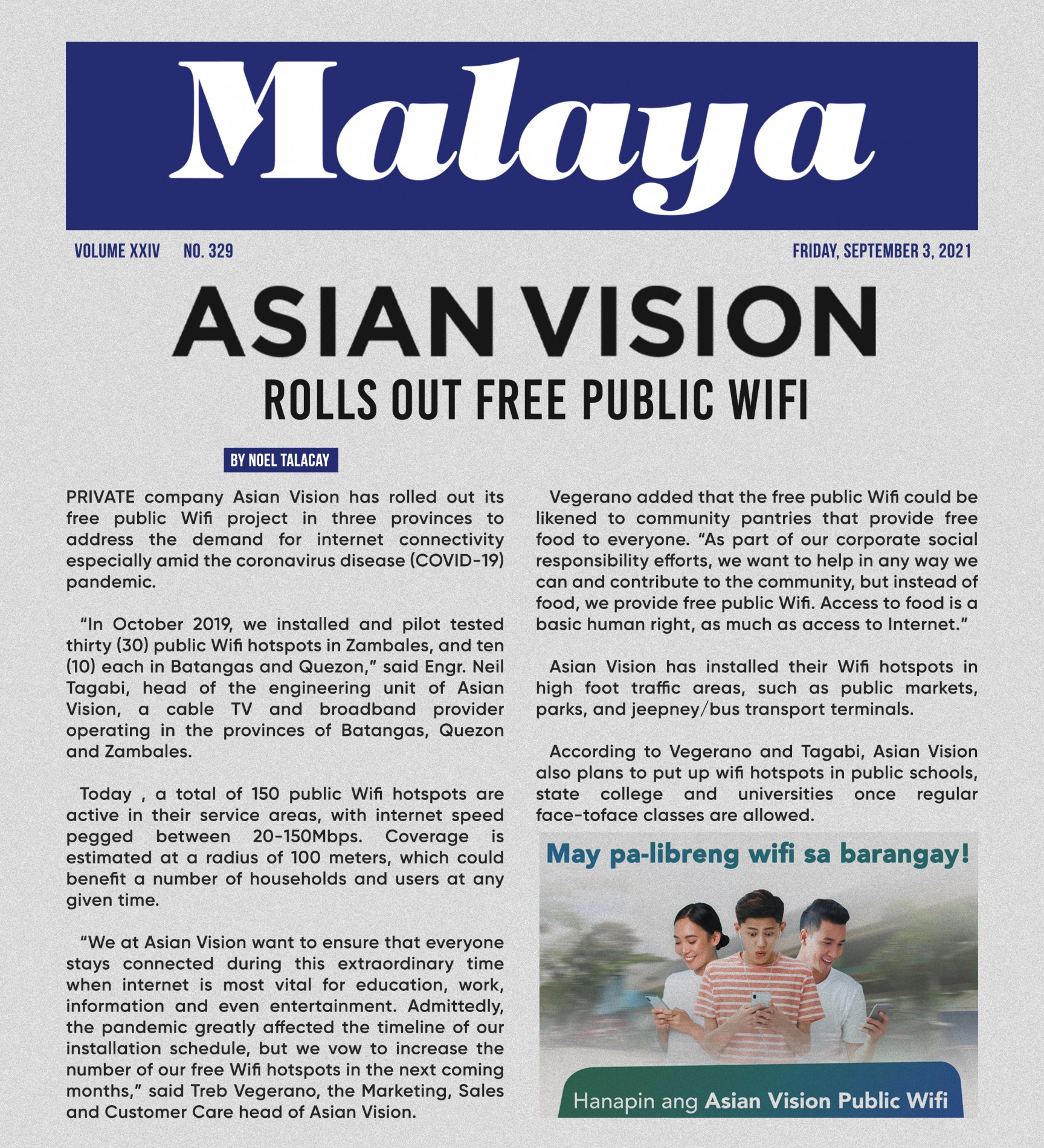 Malaya News Feature: Asian Vision Rolls Out Free Public Wifi
